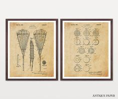 Lacrosse Patent Set Lacrosse Art by WunderKammerEditions on Etsy