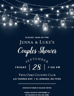 """Rustic String Lights Couples Shower Invitation. Size: 5"""" x 7"""" Make custom invitations and announcements for every special occasion! Choose from twelve unique paper types, two printing options and six shape options to design a card that's perfect for you. Size: 5"""" x 7"""" (portrait) or 7"""" x 5"""" (landscape) Standard white envelope included Add photos and text to both sides of this flat card at no extra charge Use the """"Customize it!"""" CLICK IMAGE FOR MORE DETAILS. Couples Wedding Shower Invitations, Country Wedding Invitations, Rehearsal Dinner Invitations, Watercolor Wedding Invitations, Rehearsal Dinners, Wood Invitation, Floral Invitation, Custom Invitations, Palm Wedding"""