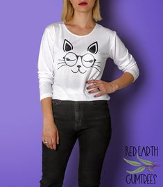 Silhouette Studio, Silhouette Cameo, 7 Zip, Stencil Templates, Cat Cat, Eye Glasses, Graphic Sweatshirt, T Shirt, Cutting Files