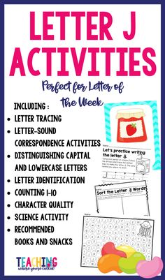 Help your students learn the letter J with this activity packet. It's perfect for letter of the week activities for toddlers, preschool, and kindergarten. These printables will help develop skills in phonics, writing, math, and science. It also includes a character trait. This fun prek packet is perfect for learning the letters of alphabet. Use it as morning work, centers, group work, and independent practice.