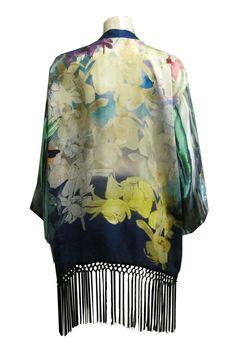 SERAPHINE KIMONO from Single Dress.  100% SILK MADE IN USA