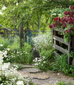 28 New Ways to Landscape Your Yard = A limestone path, lined with wild daisies, leads to this Kentucky cabin.