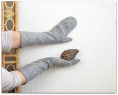 Fir. Silvery gray long mittens warm and cozy by WeirdAndWoollen