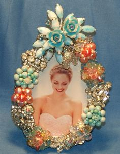 Vintage Pastel Flower Rhinestone Jeweled Picture Frame OOAK. $89.99, via Etsy.