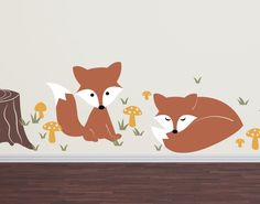 Fox Wall Decal Set  Children Nursery Boy Girl by TweetHeartWallArt, $50.00