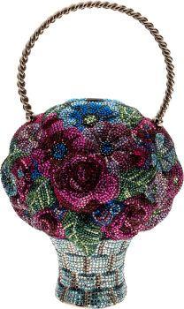 Judith Leiber Colorful Flower Basket Full Bead Minaudiere Evening Bag