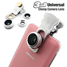 Universal Clamp 3 in 1 Fish Eye Wide Camera Lense Adapter For Smartphones (Silver). 100% High Quality Product. Fish Eye lens can shoot 180 degrees scene. Super wide-angle lens can capture the scenery sight. The macro lens you can shoot the small objects more clearly. Compatible for: Universal.