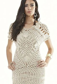 Amazing crochet dress or top, limited graph and explanation - Google translate needed. Croche de Grampo = Hair Pin Lace.