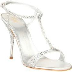 Guiseppe Zanotti Silver Blinged Out T Strap Sandals