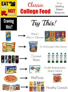 Junk Food Eat This, Not That: Classic College Food – - college, eat this not that, healthy food, swaps Healthy Cereal, Healthy Food List, Healthy Eating, Healthy Recipes, Healthy College Food, Healthy Foods, Healthy Breakfasts, Healthy College Snacks, Healthy Snacks To Buy