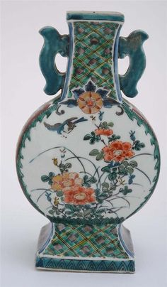 Japanese Kutani Porcelain Floral Pattern Vase Marked