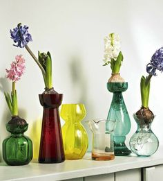 decorating with spring bulbs on mantel