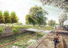 Kanalachse mit Bachgärten und Uferpark