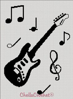 Dibujos Punto de Cruz Gratis: Guitar Cross Stitch Pattern