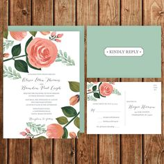 Floral Wedding Invitation Peach Pink Coral Green by BettyLuPaperie