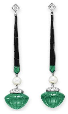 A PAIR OF DIAMOND, EMERALD AND ONYX EAR PENDANTS   Each suspending a carved emerald with a circular-cut diamond cap, joined by a natural pearl, from a calibré-cut emerald and onyx line, to the circular-cut diamond surmount, mounted in platinum. Art Deco or Art Deco style.