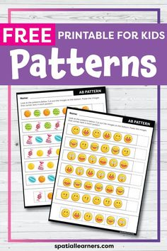 These FREE printable worksheets for kids are great for practicing spatial concepts! These patterns worksheets can be used as homework, bell-ringer activity, or warm-up activity. Fun activity for your kindergarten or grade 1 students! Pattern Worksheets For Kindergarten, Patterning Kindergarten, Kindergarten Freebies, 1st Grade Worksheets, Free Printable Worksheets, 1st Grade Math, Worksheets For Kids, Kindergarten Activities, Writing Activities