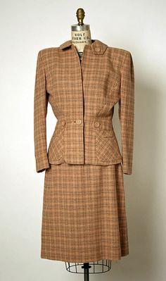 Suit, Gilbert Adrian  (American, 1903–1959)   Date: ca. 1944 Culture: American Medium: wool