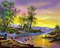 But Viktor Tsyganov - (Russian painter) your pictures of autumn - Kinszi Corner Nature Painting Images, Nature Paintings, Watercolor Landscape, Landscape Art, Landscape Paintings, Abstract Paintings, Pictures To Paint, Nature Pictures, Creation Photo
