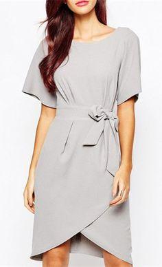 OL Style Jewel Neck Short Sleeve Asymmetrical Solid Color Women's Dress