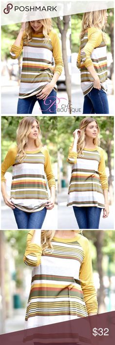 "🆕 Mustard Striped Long Sleeve Top Mustard striped top with long sleeves featuring a round neckline. Perfect to pair with jeans, pants or leggings. Made of 96/4 rayon-spandex blend. MADE IN USA 🇺🇸. Fits true to size   Measurements laying flat Small: bust 18""/ length 30"" Medium: bust 19""/ length 30"" Large: bust 20""/ length 31""  ✔️ Bundle Discounts  ✔️ Reasonable Offers through offer button  ❌ Low Balling  ❌ Trades Bchic Tops Tees - Long Sleeve"