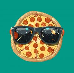 Cool Pizza (in space) Food & Kitchen Poster Print Steve Pizza, Pizza Branding, Pizza Company, Pizza Art, Rock Poster, Pizza Planet, Pizza Boxes, Pizza Restaurant, Cool Sunglasses
