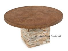 Patio Table, Outdoor Dining Table, Stacked Stone, Concrete | Woodland Creek  Furniture
