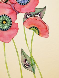 """""""Pink Puppy"""" - Wildlife Illustration by Colleen Parker colleensamanthaparker… Watercolor Poppies, Pink Poppies, Watercolor And Ink, Watercolor Paintings, Simple Watercolor, Poppy Flowers, Pink Flowers, Art Floral, Art And Illustration"""