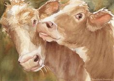 Hereford Cow Print of watercolor  2 brown cows 13x16 on Etsy, $69.00