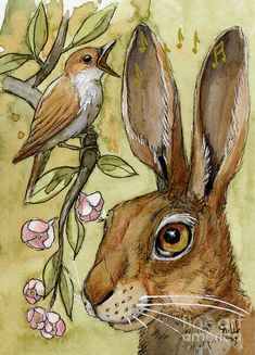 Lovely Rabbits - by listening to the song Art Print by Svetlana Ledneva-Schukina. All prints are professionally printed, packaged, and shipped within 3 - 4 business days. Choose from multiple sizes and hundreds of frame and mat options. Watercolor Animals, Watercolor Art, Lapin Art, Rabbit Art, Rabbit Drawing, Bunny Art, Animal Paintings, Painting Inspiration, Pet Birds