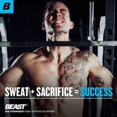"""""""Sweat + Sacrifice = Success."""" #Success #Fitness #Inspiration #Lift #Lifting #Training Great Quotes, Inspirational Quotes, Strong Names, Quote Board, Sports Nutrition, You Fitness, Life Goals, Fitness Inspiration, Quotations"""