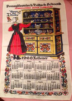 Vintage 1960's tea towel calendar   on Etsy, $6.00