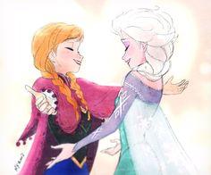 Anna and Elsa hug.