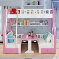 Bed For Girls Room, Bedroom Decor For Teen Girls, Cute Bedroom Ideas, Room Ideas Bedroom, Small Room Bedroom, Girl Room, Cute Room Decor, Girls Bunk Beds, Kids Bedroom Designs