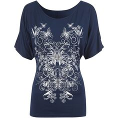 Jane Norman Split Sleeve Butterfly T-shirt ($14) ❤ liked on Polyvore featuring tops, t-shirts, shirts, navy, sale, butterfly shirt, rayon t shirt, sleeve t shirt, slim fit shirt and navy blue tee