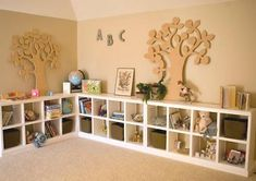 Great nursery/toddler room idea! Toys are easily concealed, yet within a child's reach. Clean up is as simple as tossing toys in the bins and placing the bin back into the cubby.