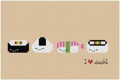 Kawaii I Heart Sushi PDF Cross Stitch Pattern by weelittlestitches, $4.00