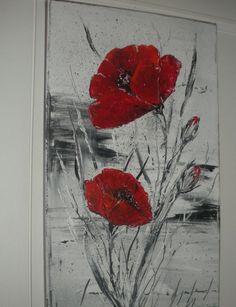 elegant red poppies on gray background brigitte schutten paintings - Acrylic Art, Acrylic Painting Canvas, Canvas Art, Encaustic Art, Red Art, Abstract Flowers, Red Poppies, Painting Inspiration, Flower Art