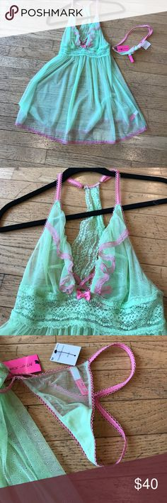 Betsey Johnson mesh chemise Betsey Johnson mesh chemise with g-string Betsey Johnson Intimates & Sleepwear Chemises & Slips