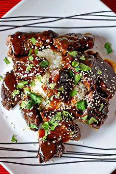 Szechuan Sticky Beef Short Ribs - these are super tasty, sticky and fall apart in your mouth tender. I use apple sauce which lends itself well with the fresh ginger, Chinese Five Spice, curry powder, chili paste and black bean sauce.