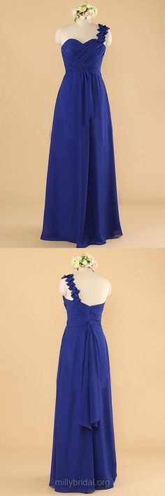 Modest Royal Blue Bridesmaid Dresses, One Shoulder Bridesmaid Dresses, Chiffon with Ruffles Bridesmaid Dress