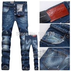 HOT!Free Shipping retail & wholesale fashion DSQ brand Men's pants,Leisure&Casual washed denim pants, Straight Men's D2 Jeans $46.77