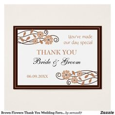 Brown Flowers Thank You Wedding Favor Gift Tags Wedding Favours Thank You, Wedding Gift Tags, Party Favor Tags, Brown Flowers, Thank You Tags, Personalized Favors, Sticker Shop, Things To Come, Paper