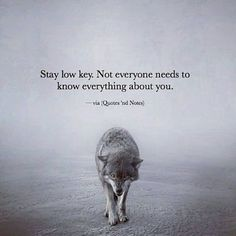 Reminder: Stay low key. Not everyone needs to know everything about you.