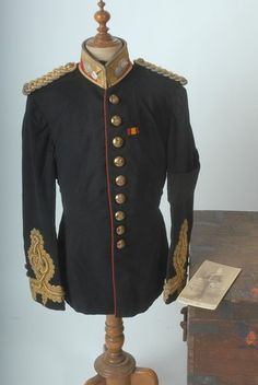Victorian S-E Scotland Artillery Militia Offr's FD Ceremonial Tunic. Note the Boer War ribbon Military Style, Military Fashion, Tunics, Blouses, British Uniforms, Royal Engineers, Mother Family, Military Uniforms, Cold War