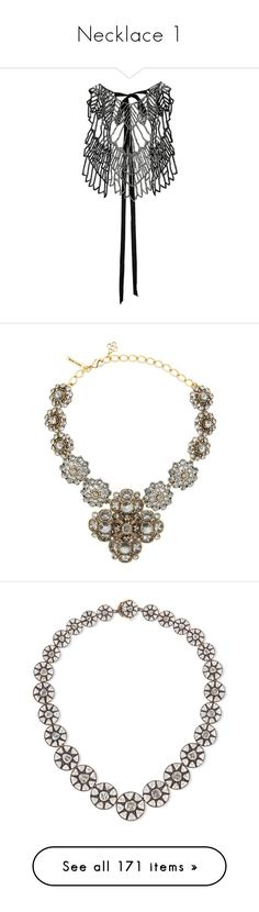 """Necklace 1"" by designing-myworld ❤ liked on Polyvore featuring jewelry, necklaces, ann demeulemeester jewelry, ann demeulemeester necklace, bib necklace, ann demeulemeester, metallic, swarovski crystal necklace, jewel necklace and oscar de la renta necklace"