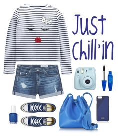 """""""Just Chill'in"""" by gabgirl54321 ❤ liked on Polyvore featuring AG Adriano Goldschmied, Converse, Fujifilm, Lancaster, Native Union and Essie"""