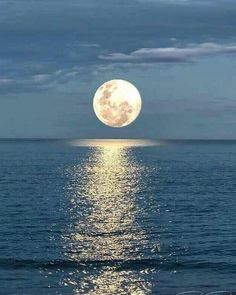 Moon over Ocean by Nature