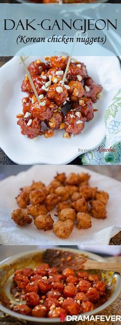 How to make Dak-gangjeon, deliciously crispy and spicy Korean chicken nuggets (Korean Food Recipes) Chicken Nuggets, Chicken Appetizers, Chicken Recipes, Asian Appetizers, Asian Recipes, Healthy Recipes, Ethnic Recipes, Spicy Food Recipes, Oriental Recipes