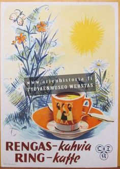Rengas-kahvia Old Ads, Old Pictures, Ancient History, Finland, Retro Vintage, Nostalgia, Mid Century, Posters, Coffee